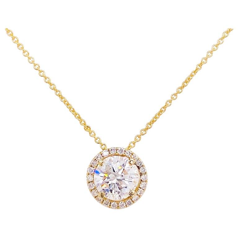 Diamond Halo Necklace, 14 Karat Yellow Gold Bolo Chain .94 Carat Diamond, Choker For Sale