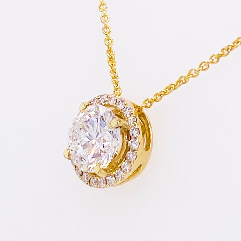 Modern Diamond Halo Necklace, 14 Karat Yellow Gold Bolo Chain .94 Carat Diamond, Choker For Sale