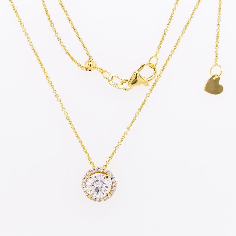 Round Cut Diamond Halo Necklace, 14 Karat Yellow Gold Bolo Chain .94 Carat Diamond, Choker For Sale