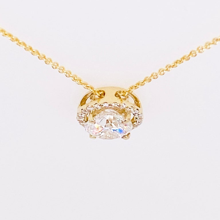 Diamond Halo Necklace, 14 Karat Yellow Gold Bolo Chain .94 Carat Diamond, Choker In New Condition For Sale In Austin, TX
