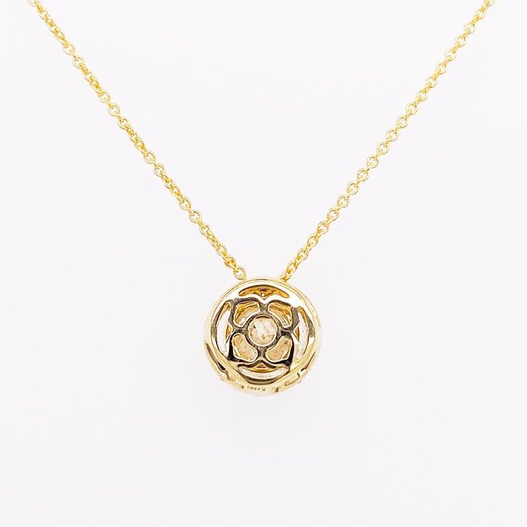Women's Diamond Halo Necklace, 14 Karat Yellow Gold Bolo Chain .94 Carat Diamond, Choker For Sale