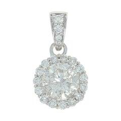 Diamond Halo Pendant, 14 Karat White Gold Round Cut .73 Carat