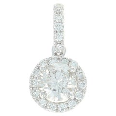 Diamond Halo Pendant, 14 Karat White Gold Round Cut .77 Carat