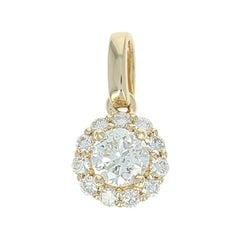 Diamond Halo Pendant, 14 Karat Yellow Gold Round Cut .45 Carat