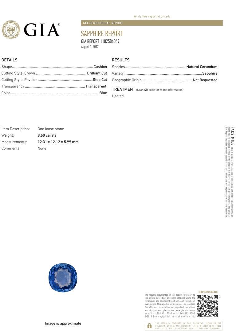 Diamond Halo Ring GIA Certified Sapphire 8.60 Carat White Gold 18 Karat For Sale 1
