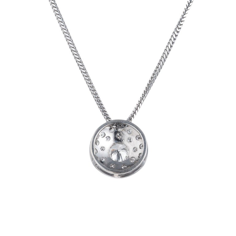 Round Cut Diamond Halo Slide White Gold Pendant Necklace For Sale