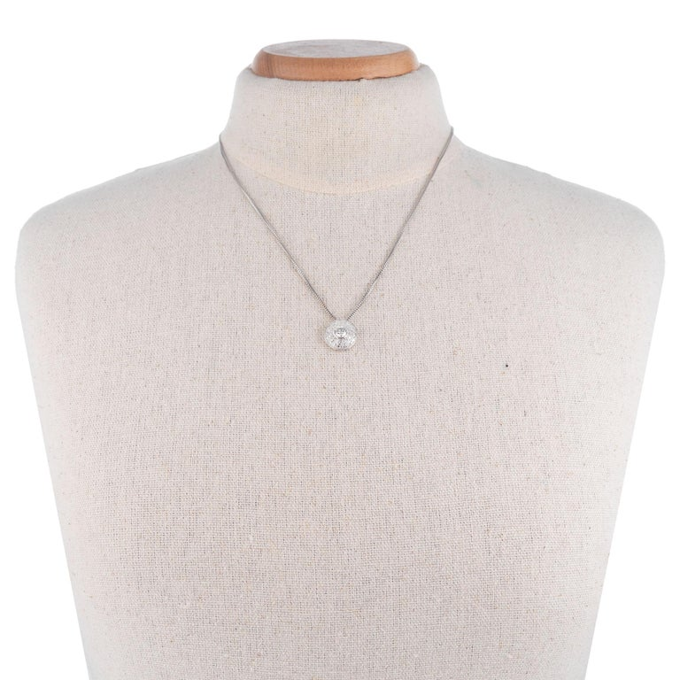Diamond Halo Slide White Gold Pendant Necklace In Excellent Condition For Sale In Stamford, CT