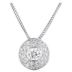 Diamond Halo Slide White Gold Pendant Necklace