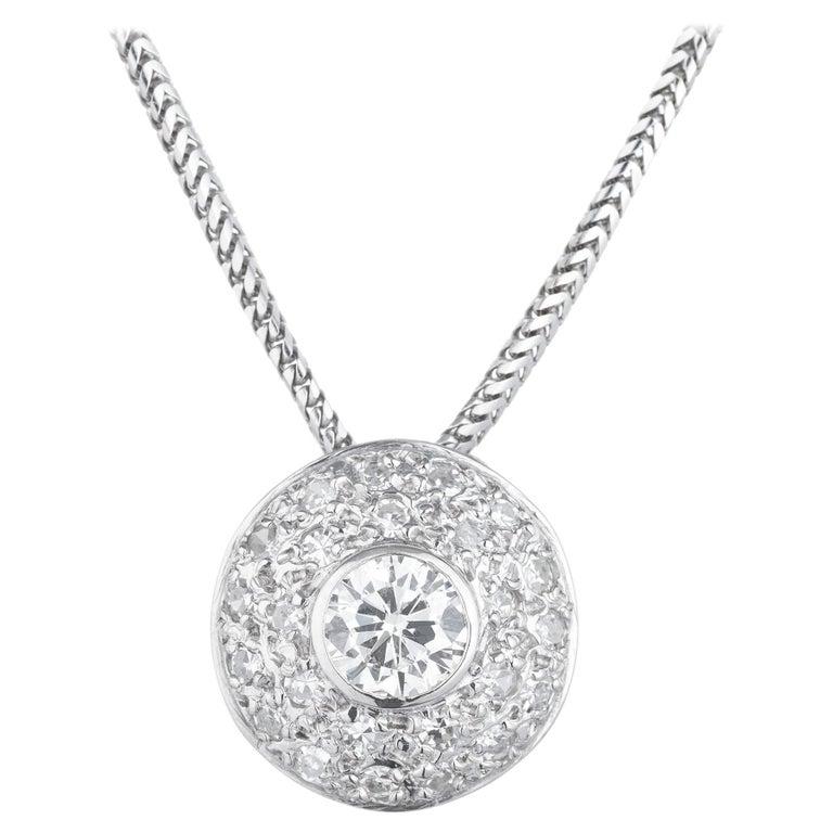 Diamond Halo Slide White Gold Pendant Necklace For Sale