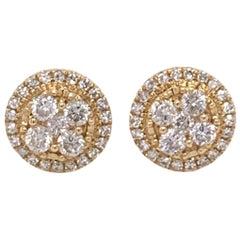 Diamond Halo Stud Earrings in Yellow Gold