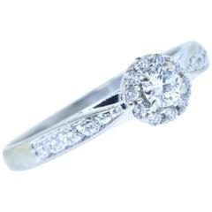 Diamond Halo Style White Gold Ring