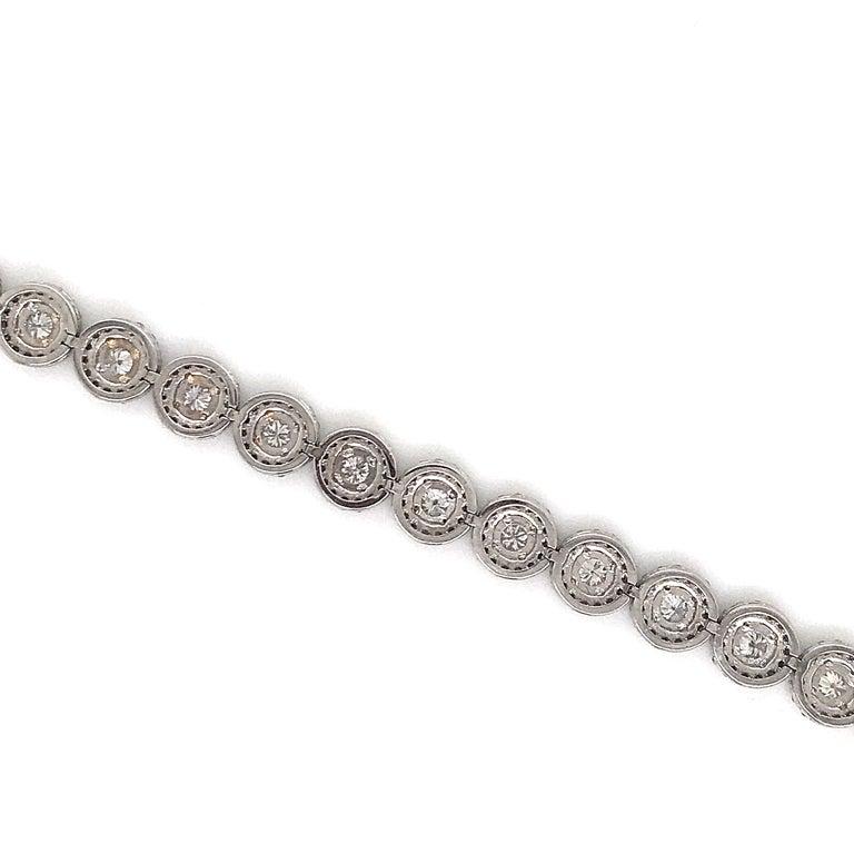 Contemporary Diamond Halo Tennis Bracelet 5.15 Carat 14 Karat White Gold For Sale
