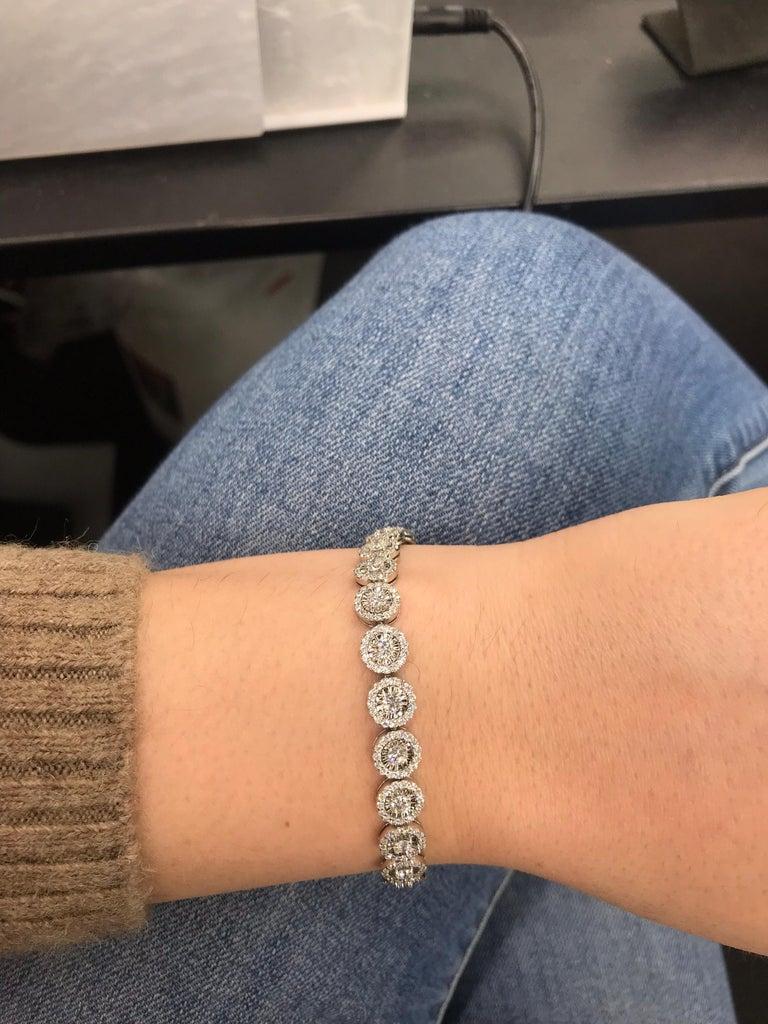Diamond Halo Tennis Bracelet 5.15 Carat 14 Karat White Gold In New Condition For Sale In New York, NY