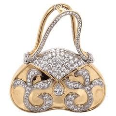 Diamond Hand Bag 18 Karat Brooch Pin Pendant Estate Fine Jewelry