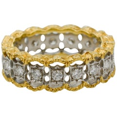 Diamond Hand Engraved 18 Karat Yellow Gold Filagree Eternity Band