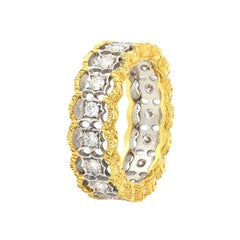 Diamond Hand Engraved 18 Karat Yellow Gold Filigree Eternity Band