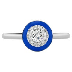 JAG New York Platinum Diamond and Blue Ceramic Ring
