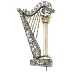 Diamond Harp Brooch, circa 1890