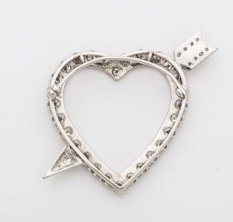 Art Deco Diamond Heart and Arrow Platinum Pendant/Pin For Sale