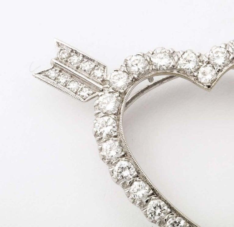 Women's Diamond Heart and Arrow Platinum Pendant/Pin For Sale