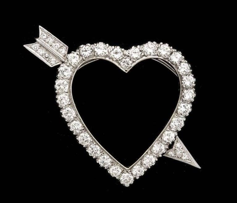 Diamond Heart and Arrow Platinum Pendant/Pin For Sale 1