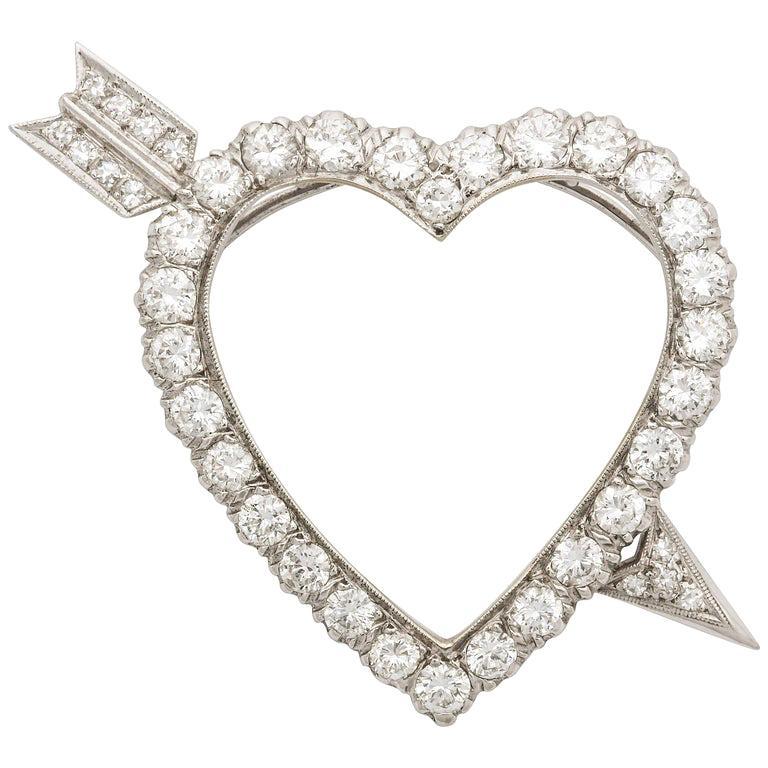 Diamond Heart and Arrow Platinum Pendant/Pin For Sale
