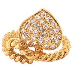 Diamond Heart Cocktail Ring 0.50 Carat, G, VS in 18 Karat Yellow Gold