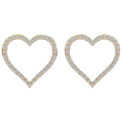Diamond Heart Earring in 18 Karat Gold