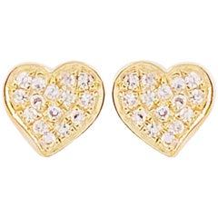 Diamond Heart Earrings, 14 Karat Yellow Gold Heart Pave Diamond Studs, Valentine