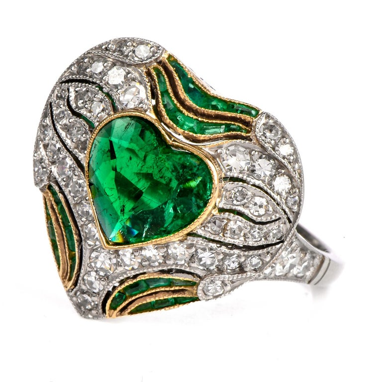 Art Deco Diamond Heart Emerald Platinum Filigree Ring For Sale