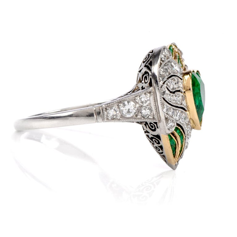 Women's or Men's Diamond Heart Emerald Platinum Filigree Ring For Sale