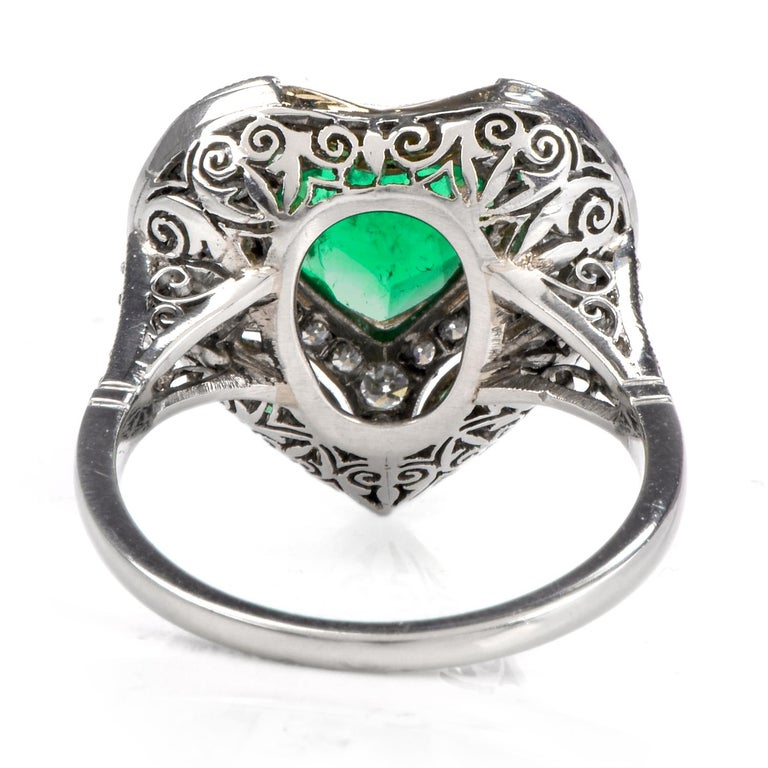 Diamond Heart Emerald Platinum Filigree Ring For Sale 1