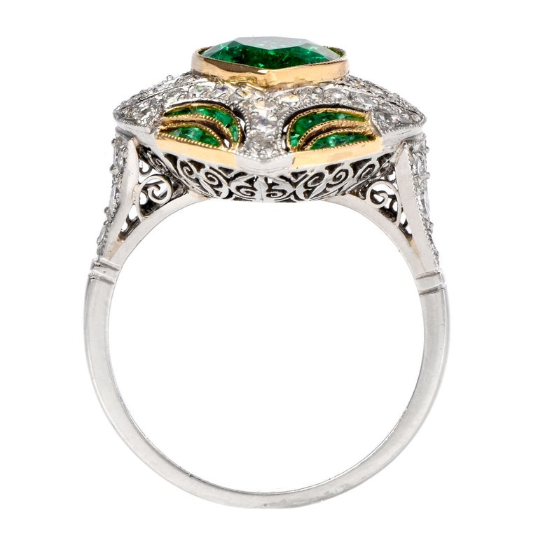 Diamond Heart Emerald Platinum Filigree Ring For Sale 2