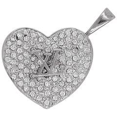 Diamond Heart Locket, 18k White Gold, LV Design, Gift, Neck Mess, Photo Frame