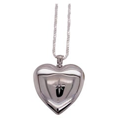 Diamond Heart Locket with Diamond Star in Sterling Silver Chain