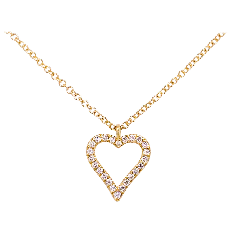 Diamond Heart Necklace, 14K Yellow Gold Pave Diamond Open Heart, NK5452Y45JJ