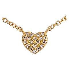 Diamond Heart Necklace, Minimalist Design w Pave Diamond, Heart Pendant, Gold