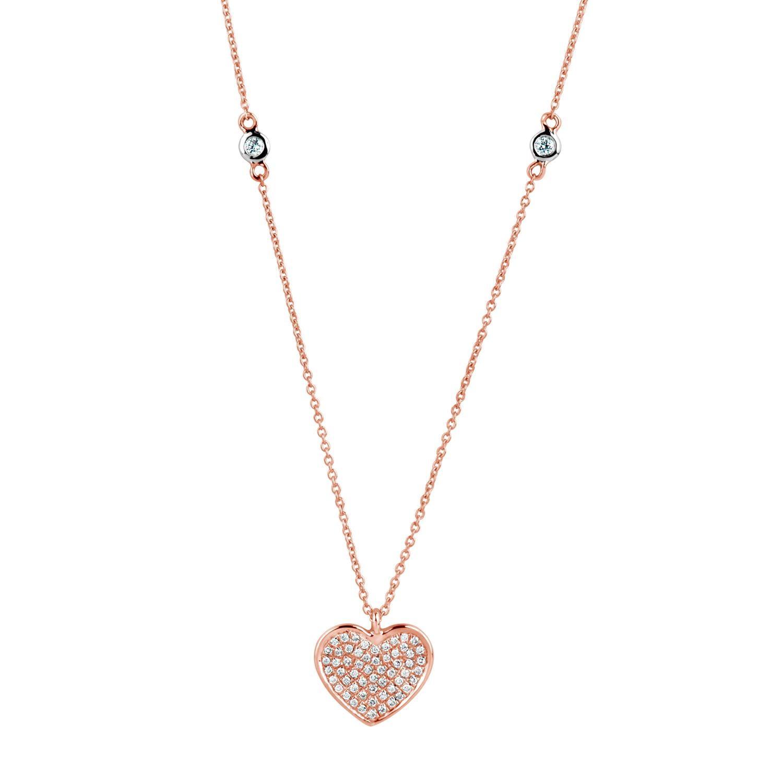 Diamond Heart Necklace 18 Karat Rose Gold