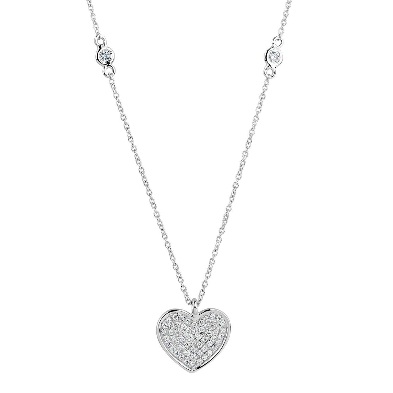 Diamond Heart Necklace 18 Karat White Gold