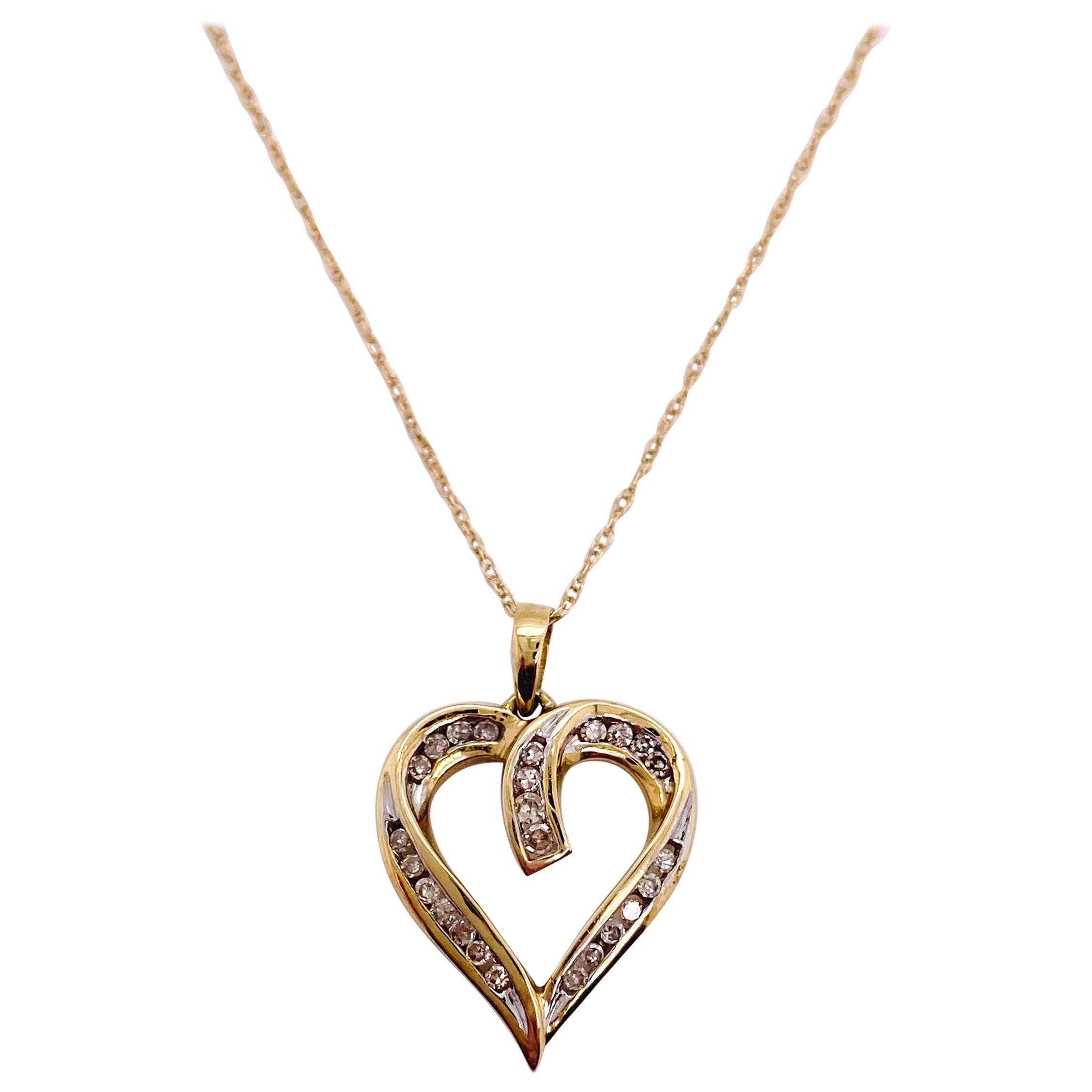 Diamond Heart Necklace, .25 Carat Diamond Open Heart Pendant Necklace