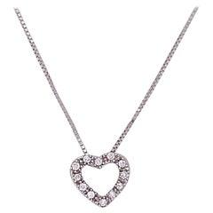 Diamond Heart Necklace White Gold Open Heart with .20 Carat Diamonds, Love Heart