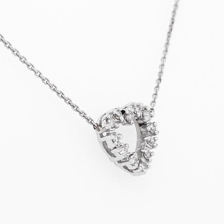 Modern Diamond Heart Necklace, White Gold Pavé Diamond Open Heart, Romantic Heart For Sale