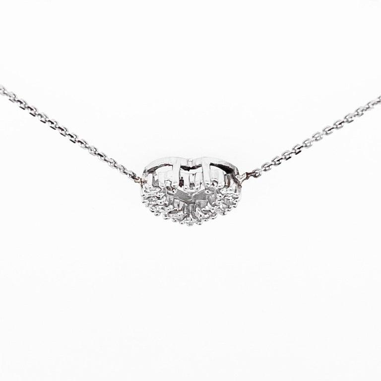 Round Cut Diamond Heart Necklace, White Gold Pavé Diamond Open Heart, Romantic Heart For Sale