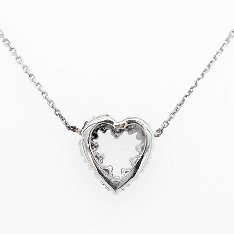 Diamond Heart Necklace, White Gold Pavé Diamond Open Heart, Romantic Heart In New Condition For Sale In Austin, TX