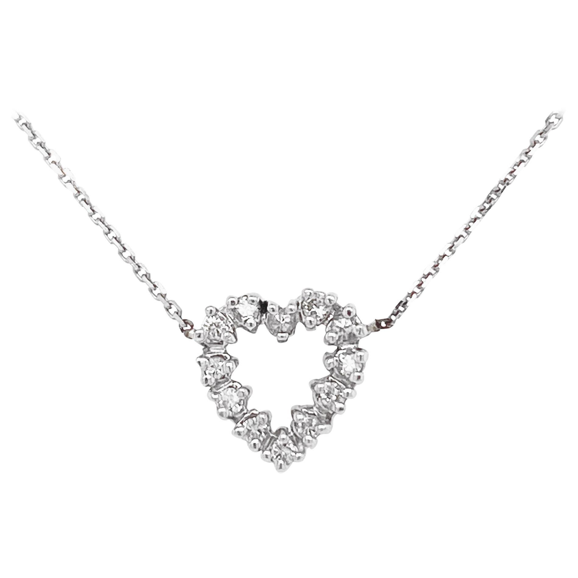 Diamond Heart Necklace, White Gold Pavé Diamond Open Heart, Romantic Heart