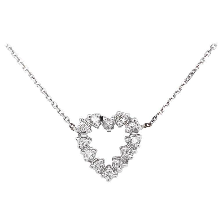 Diamond Heart Necklace, White Gold Pavé Diamond Open Heart, Romantic Heart For Sale