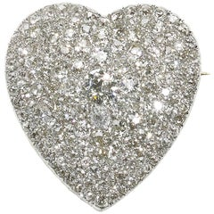 Diamond Heart Pendant Brooch, circa 1930