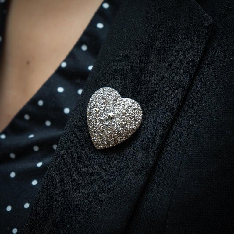 Art Deco Diamond Heart Pendant Brooch For Sale