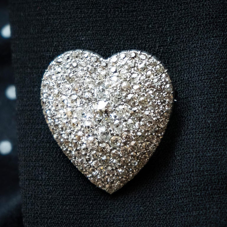 Diamond Heart Pendant Brooch In Good Condition For Sale In London, GB