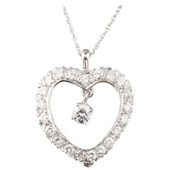 Diamond Heart Pendant Center Drop Diamond 1.55 Carat 14 Karat Gold Necklace